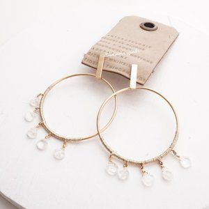 Anthropologie Moonstone Hooped Post Earrings
